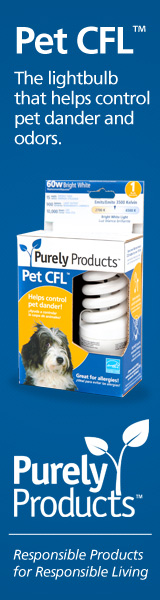 Pet CFL - the lightbulb that helps control pet dander and odors.