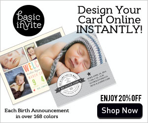 Save 20% On Your Birth Announcements from BasicInvite