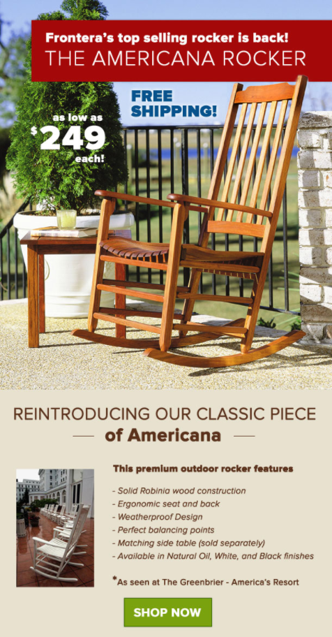 Frontera's The Americana rocker Top Selling Rocker is Back!