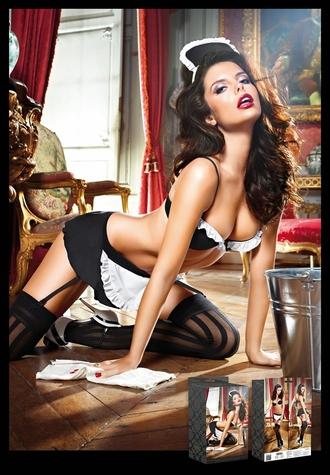La Bare - Bra Panty Garter Skirt and Wrist Cuffs