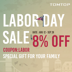 Up to 61% OFF+Extra 8% OFF Labor Day Sale,Coupon:LABOR,Expires:Sep.6@TOMTOP.com