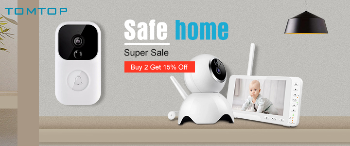 Buy 2 Get 15% OFF Safe Device Sale @tomtop
