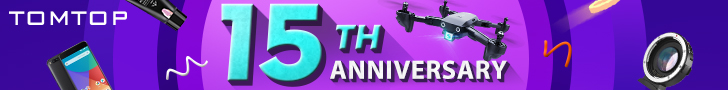 Get 50% OFF Flash Deals At Tomtop 15th Anniversary