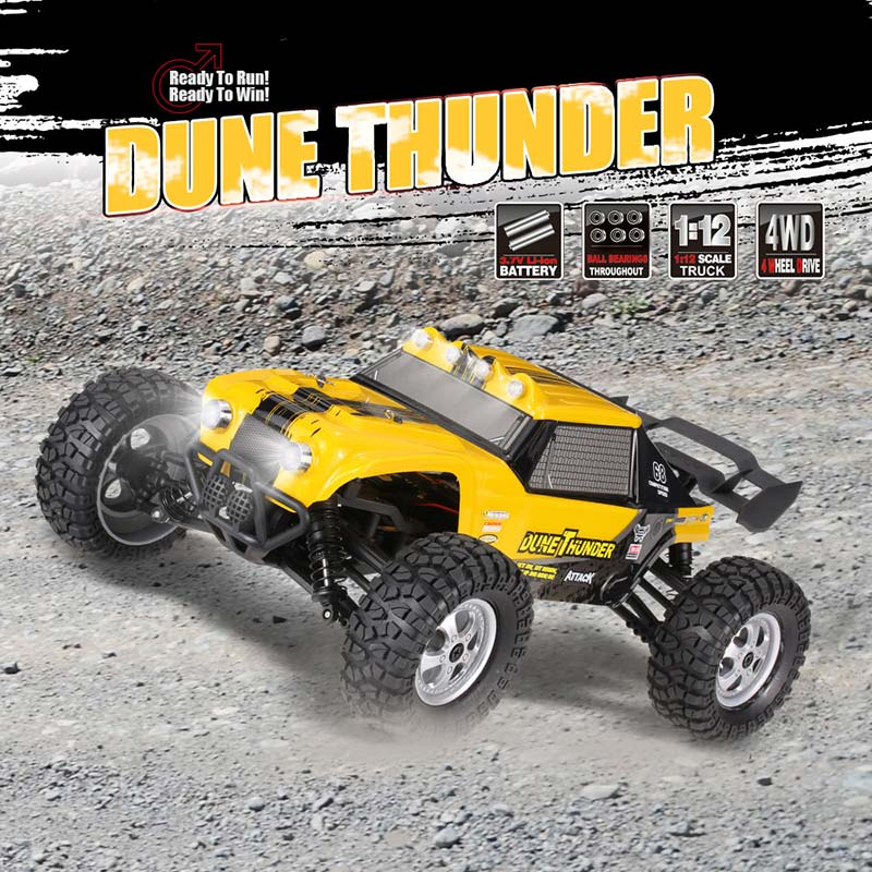 $6 Off HBX 12891 1/12 2.4G 4WD Waterproof Desert Truck Off-Road Buggy RTR RC Car with LED Lights,free shipping $73.99