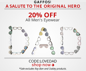 Father's Day Sale. Use Code: LOVEDAD at Checkout and Get 20% OFF all Mens Eyewear