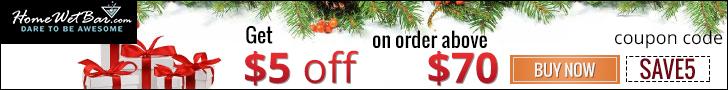 Get $5 Off by HomeWetBar.com