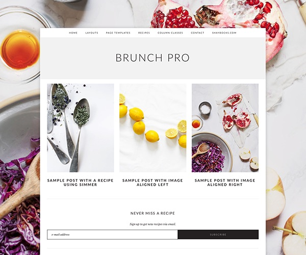 Brunch: A Genesis Child Theme for Food & Lifestyle Bloggers page
