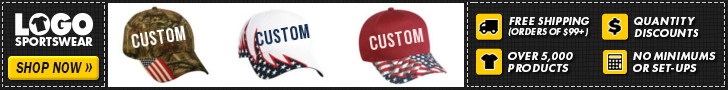 LogoSportswear Affiliate Ad - 728 x 90 - Custom Caps + Free Shipping Over $99