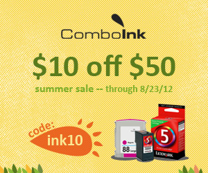 ComboInk $10 off $50 - code INK10