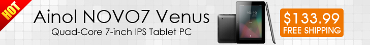 Hot! 16% OFF, $133.99 For Ainol NOVO7 Venus Android 4.1 ACT-ATM7029 Quad-Core 1.5GHz 1GB/16GB HDMI Dual-camera 7-inch IPS Screen Tablet PC, Free Shipping