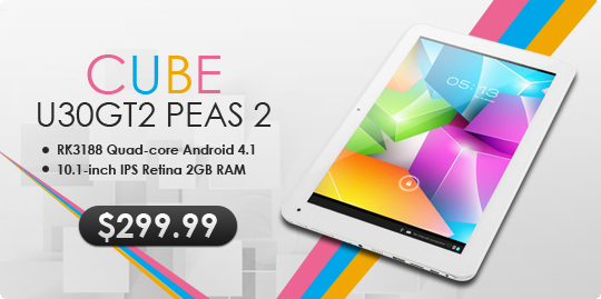 Hot! 16% OFF, $299.99 For Cube U30GT2 Peas 2 Android 4.1 RK3188 Quad-core 2GB/32GB Bluetooth Dual-camera 10.1-inch IPS Retina Tablet PC, Free Shipping