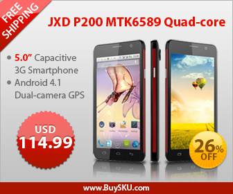 26% OFF, $114.99 For JXD P200 MTK6589 Quad-core Android 4.1 Dual-camera GPS 5.0-inch Capacitive 3G Smartphone, Free Shipping