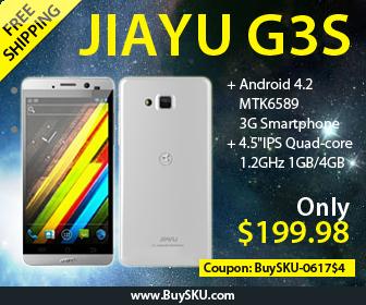 JIAYU G3S, $199.98+Free Shipping, Android 4.2 MTK6589 Quad-core 4.5-inch IPS Retina Gorilla Glass Dual-camera GPS 1GB/4GB 3G Smartphone, Coupon Code:BuySKU-0617$4