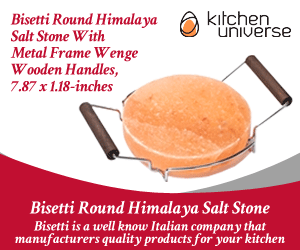 Bisetti Round Himalaya Salt Stone With Metal Frame Wenge Wooden Handles, 7.87 x 1.18-inches