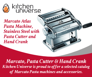 Marcato Atlas Pasta Machine, Stainless Steel with Pasta Cutter and Hand Crank