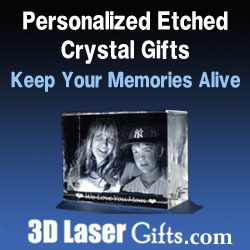 Personalized Etched Crystal Gifts at 3DLaserGifts.com