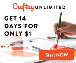 2 for $1 - Try Craftsy Unlimited 2 Weeks For Just $1 at Craftsy.com from 3/5-3/7/18.