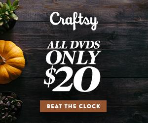 24 Hour Flash Sale - All DVDs Only $20 at Craftsy.com 10/9/18 only.