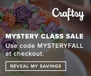 Mystery Class Sale at Craftsy.com 9/16/18 only! Use coupon code MYSTERYFALL at checkout. This secret offer applies to an online Craftsy class, Startup Library course, or DVD - see coupon details at checkout for offer details.