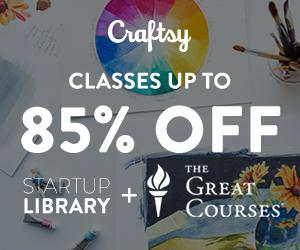 Up To 85% Off Startup Library & The Great Courses at Craftsy.com 11/18/18 only!