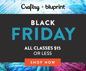 Craftsy Black Friday / Cyber Monday - All Classes $15 or Less at Craftsy.com starting 11/21 at 2:00pm MST through 11/26/18.