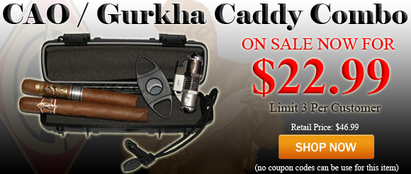 Get a 2 count Cigar Caddy, guillotine cigar cutter, double flame lighter, a CAO Gold Robusto and a Gurkha Symphony for $22.99!