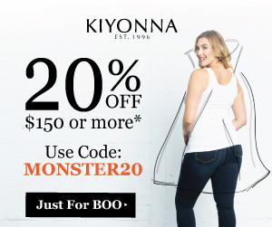 20% off $150+ Save 20% off orders of $150+ at Kiyonna! Use promo code: MONSTER20 at checkout. Now through October 31, 2017. ***