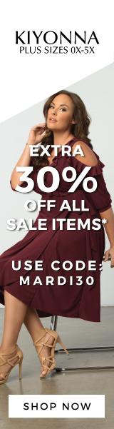 Save 30% off all Sale Items at Kiyonna 2 Day Mardi Gras Sale* coupon  MARDI30