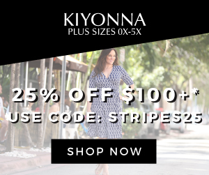 25% off $100+ at Kiyonna, code: STRIPES25