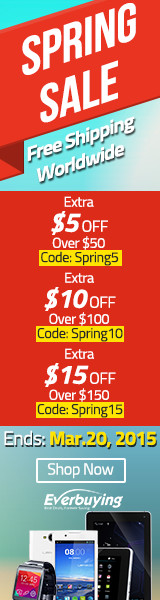Spring Sale: Save Up to $15 and Free Shipping Sitewide at Everbuying! (Ends: Mar.20, 2015)