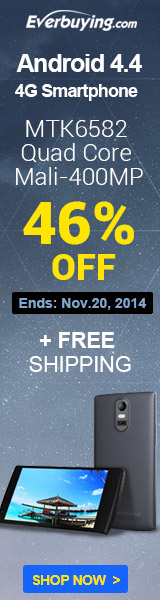 Up to 46% OFF + Free Shipping for the Android 4.4 4G Smartphone at Everbuying! (Ends: Nov.20,2014)
