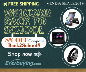 Back to School! Enjoy 8% OFF for All at Everbuying with Coupon Code: Back2School8. (Ends: Sept.5th)