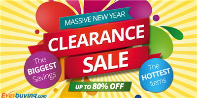 Massive New Year Clearance Sale! Up to 80% OFF + Free Shipping at Everbuying!