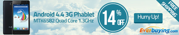 Hot Sale! Up to 14% OFF + Free Shipping for Cubot S168 Android 4.4 3G Phablet at Everbuying!