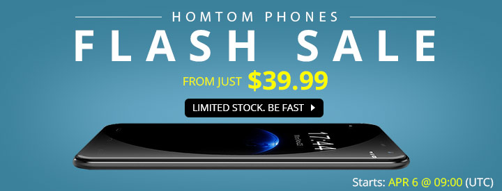 Flash Sale, $52.99 Only for Homtom HT3 Smartphone(8GB ROM)