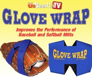 As Seen At TV Presents: Glove Wrap - $11.95  - Break in your new baseball mitt like the pros with the Glove Wrap�! This patented aid features a one-piece, elastic stretch design, with hook-and-loop fasteners that wrap and adjust around a glove. Unlike other brands, the Glove Wrap is constructed from neoprene, and it fits any size baseball or softball mitt.  Simply place a ball in the desired position within the glove's pocket, then fold the leather around the ball and cross-fasten the Glove Wrap's parallel straps over the closed mitt. The Glove Wrap holds the mitt in the appropriate position and forces the ball deep into the leather to form the perfect pocket!. Available here on http://www.AsSeenAtTV.com!