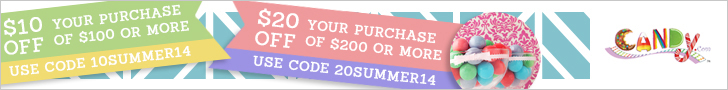 Get $10 or $20 OFF your entire Purchase at Candy.com