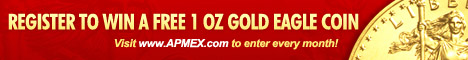 Banner focusing on registering to win a 1 oz gold coin