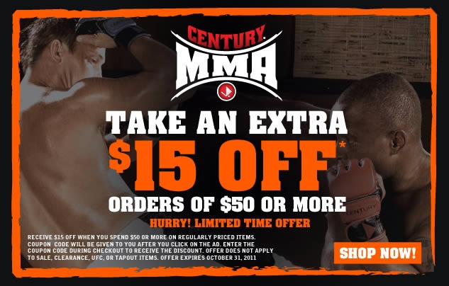 Century MMA Extra 15% Off Banner