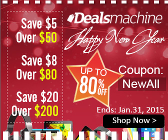 "$5 OFF $50+, $8 OFF $80+, $20 OFF $200+ with Coupon ""NewAll"". (Ends: Jan.31, 2015)"