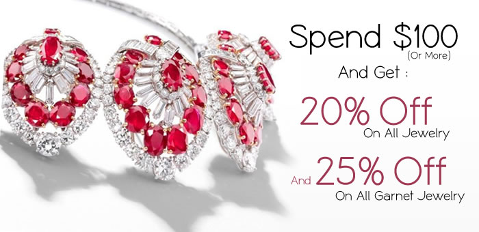 Get 20% OFF on All Jewelry + 25% OFF On All Garnet Jewelry at SilverRushStyle.com