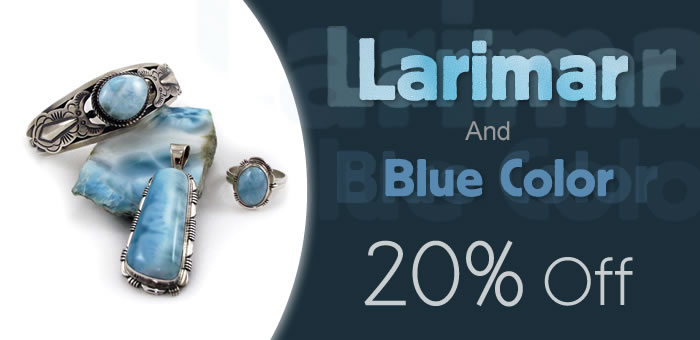Larimar & Blue Color Jewelry 20% OFF at www.SilverRushStyle.com