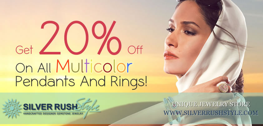 20% OFF on MultiColor Jewelry at www.SilverRushStyle.com