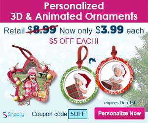 Save $5! Each personalized 3d/animated ornament only $3.99