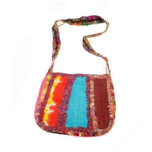 recycled silk shoulder bag