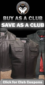 Save 15% When You Purchase $750 Worth of Leather Motorcycle Vests (men's & ladies) Coupon Code: club1100