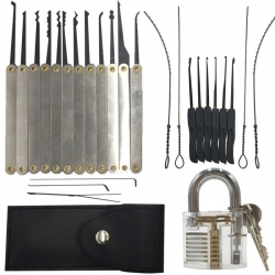 Hot! Top Sell - 12pcs Unlocking Lock Pick Set 1pc Transparent Padlock Sale