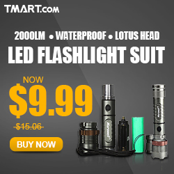 $9.99 on 2000lm 3 Mode Lotus Head LED Flashlight with Batteries