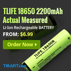 Start from $6.99 for Tlife 18650 2200mAh Li-ion Rechargeable Battery