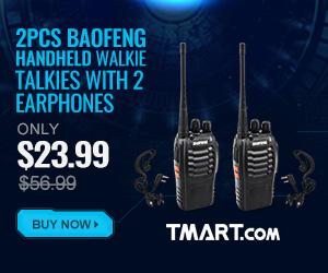 61% OFF! 2pcs BF-888S Handheld Walkie Talkies with 2 Earphones Sale
